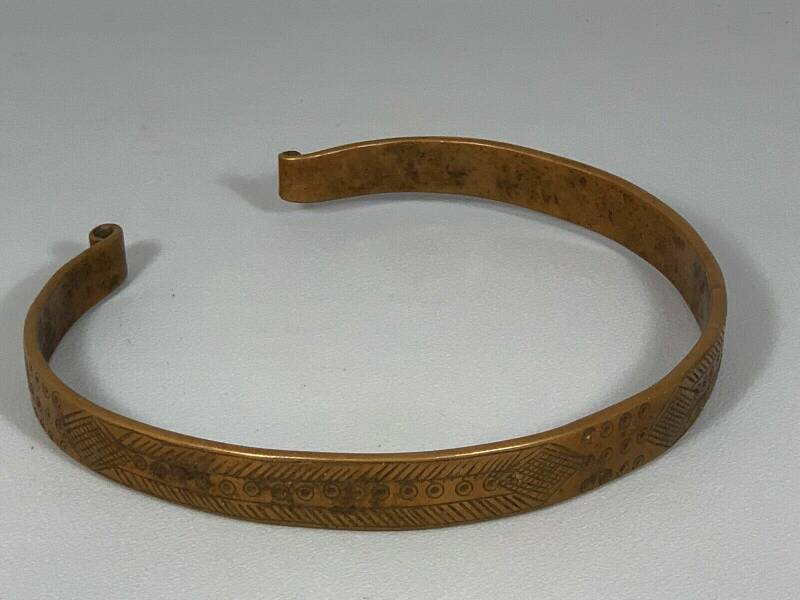 180324 - Ethiopian African Tribal used Bronze OROMO necklace - Ethiopia