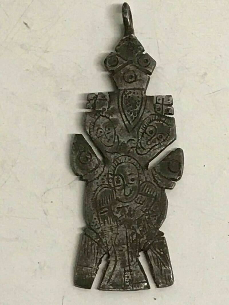190418 Old Ethiopian Coptic Handmade iron Neck Cross 18th cent. - Ethiopia.