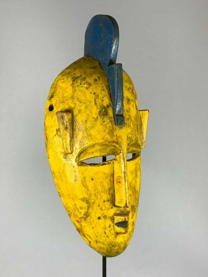 200148 - Tribal used African Markha yellow mask - Mali.