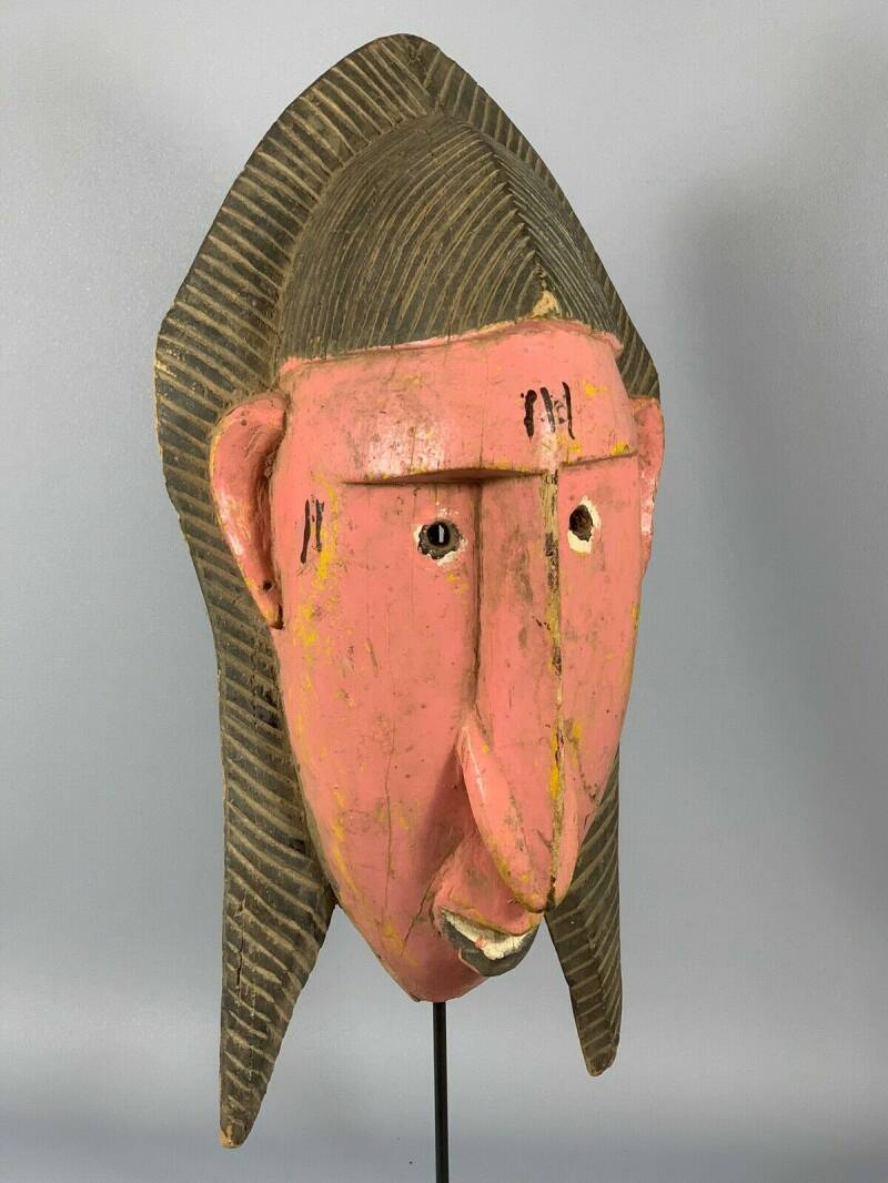180210 - Old Tribal used African Pink Bozo mask - Mali.