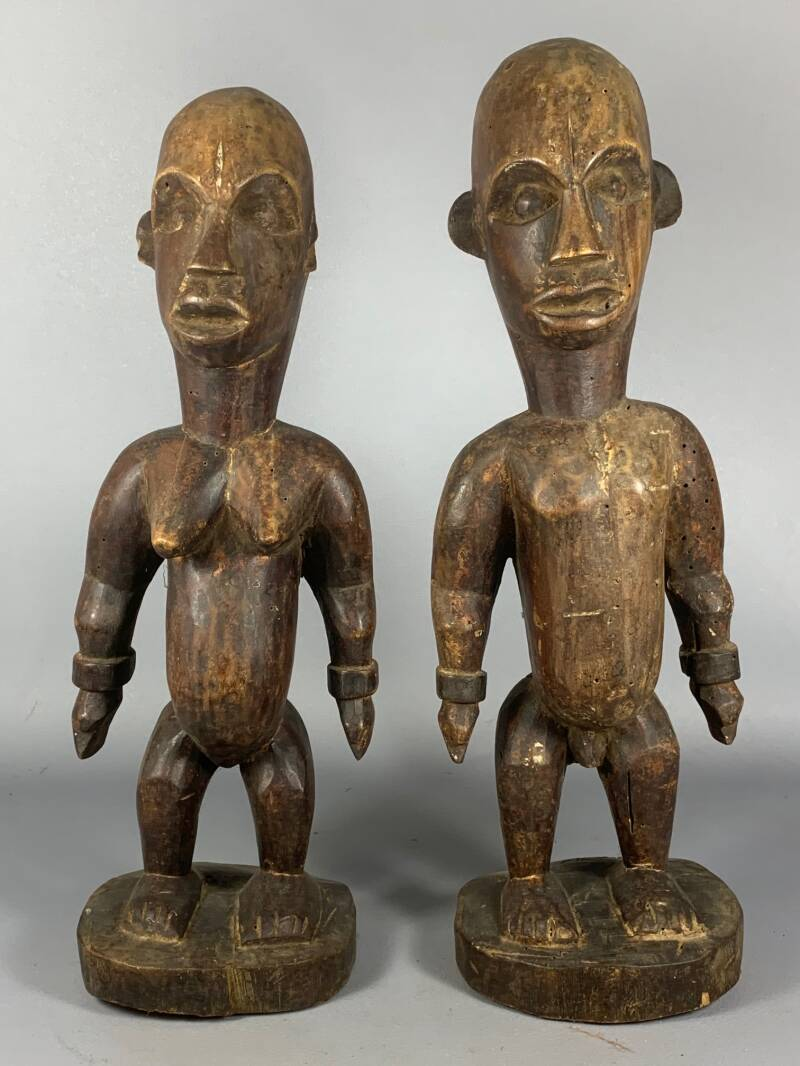 200705 - 2 Old Tribal used African Bakongo male & female statues - Congo.