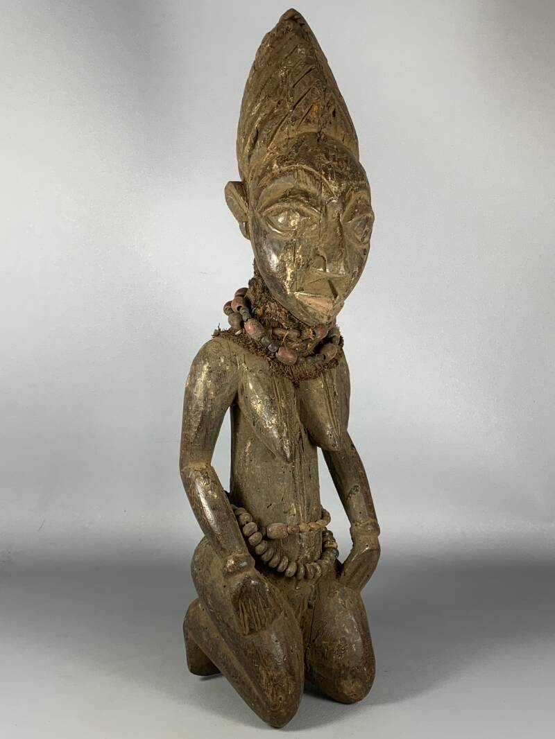 200716 - Old Tribal used African Yoruba statue with old beads - Nigeria.