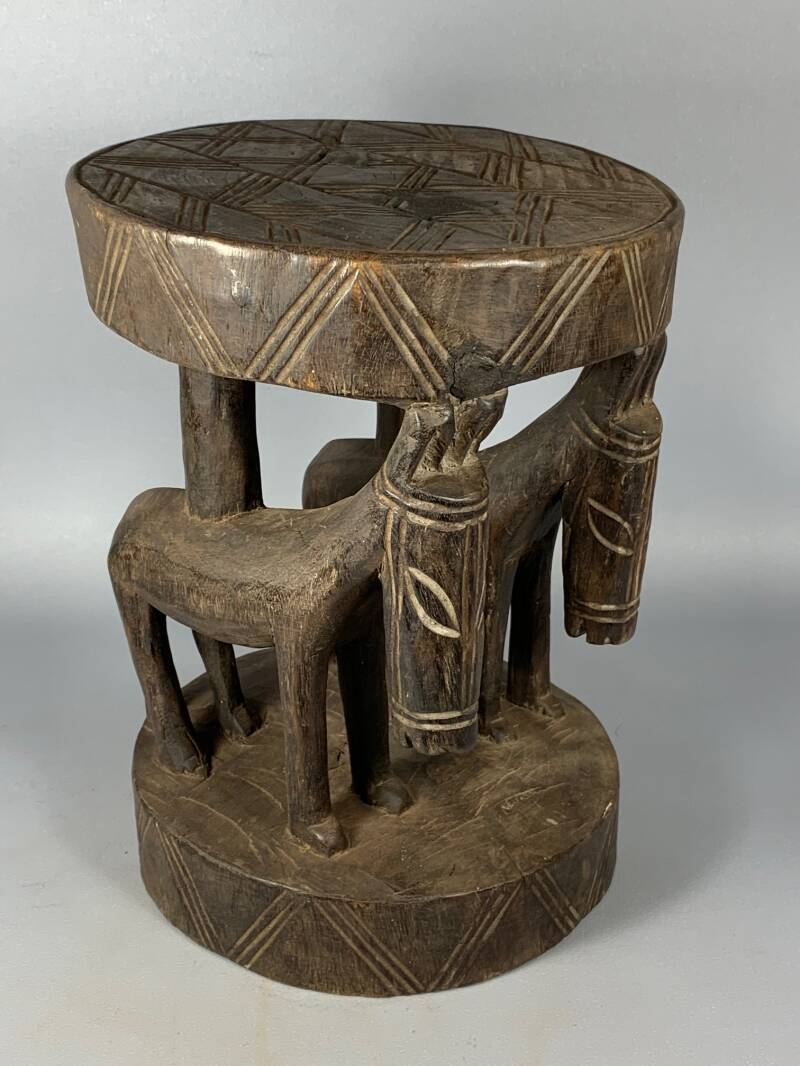 200728 - Old & Tribal used African Dogon stool - Mali.