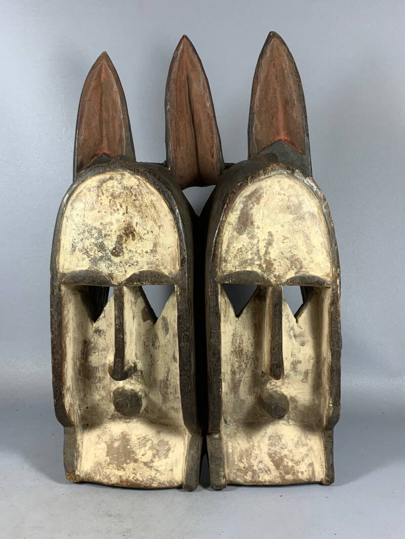201037 - Old Tribal Used African Dogon Twin face Mask - Mali