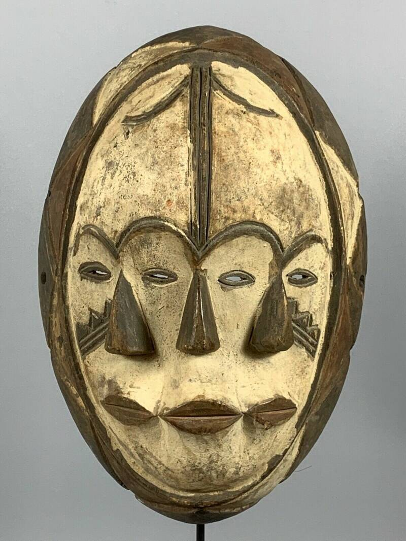 180908 - Tribal used African 3 double Mask from the Fang - Gabon.