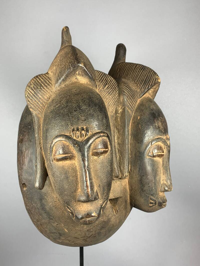 201123 - African Rare & Old Tribal Used Double Baule Twin mask - Iv. Coast.