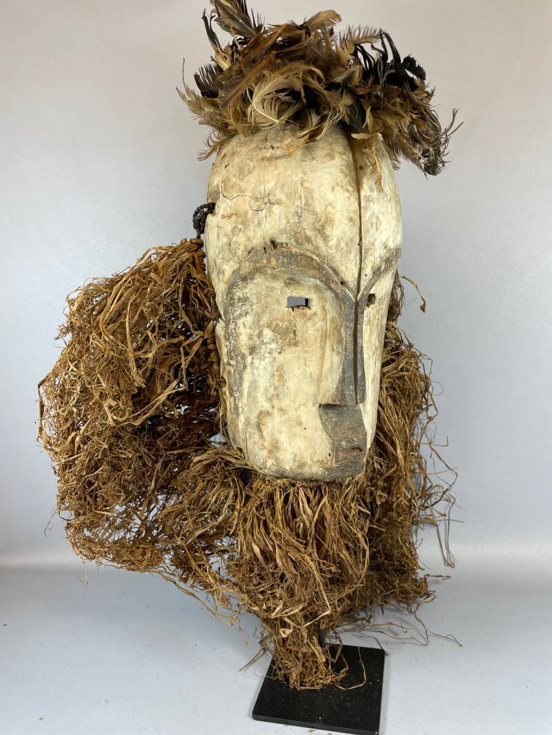 210825 - Old & Tribal used African Fang mask with Raffia - Gabon.