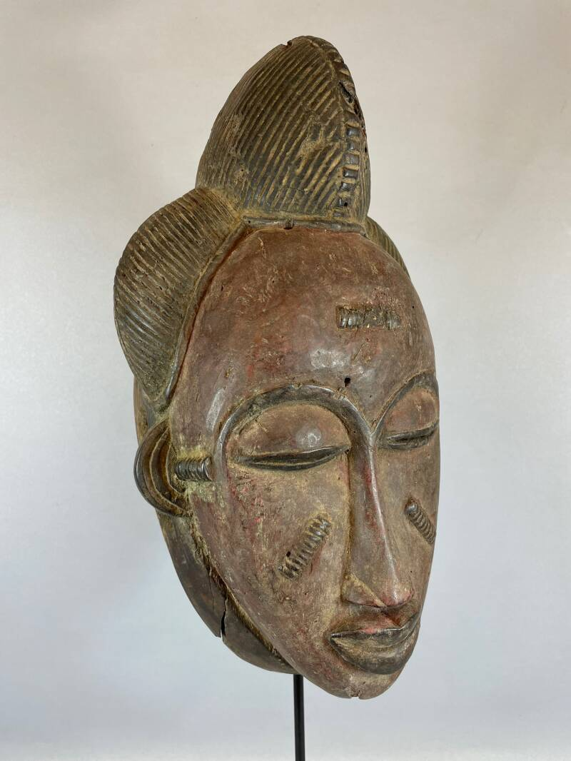210824 - African Rare & Old Tribal Used Red Baule mask - Iv. Coast.
