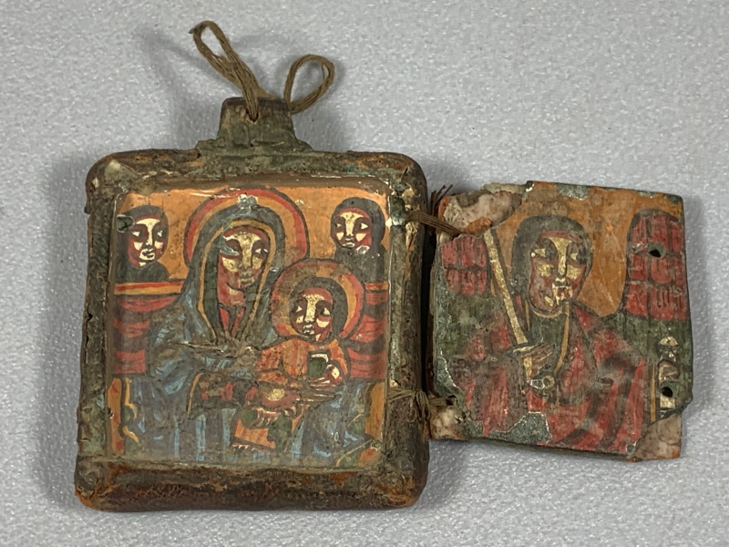210219 - Ethiopian handpainted - 18th coptic stone & Leather icon - Ethiopia.