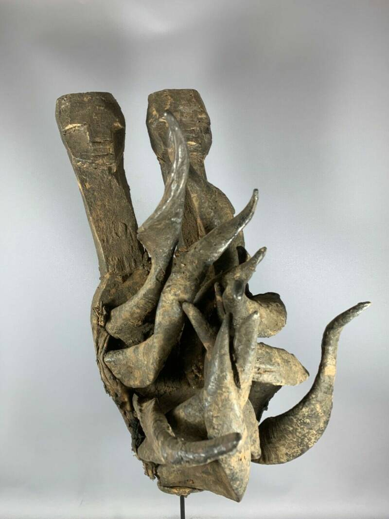 210113 - Old and Rare Tribal used African Old Gle Bete horn mask - Iv. Coast