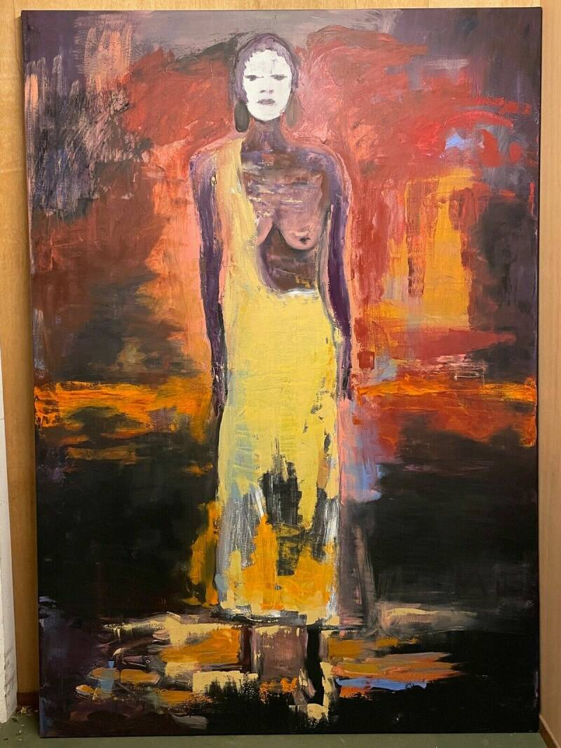 210928 - Very Large Oil painting of a Kara woman from the Omo valley - Ethiopia.