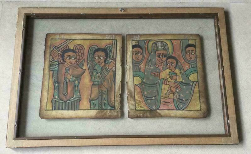 201223 - 2 Antique Ethiopian handpainted & -written coptic icon leaves - Ethiopia