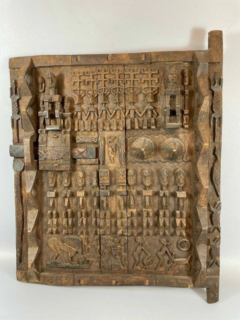 210833 - LARGE Old & Tribal used African Dogon Granary Door - Mali.