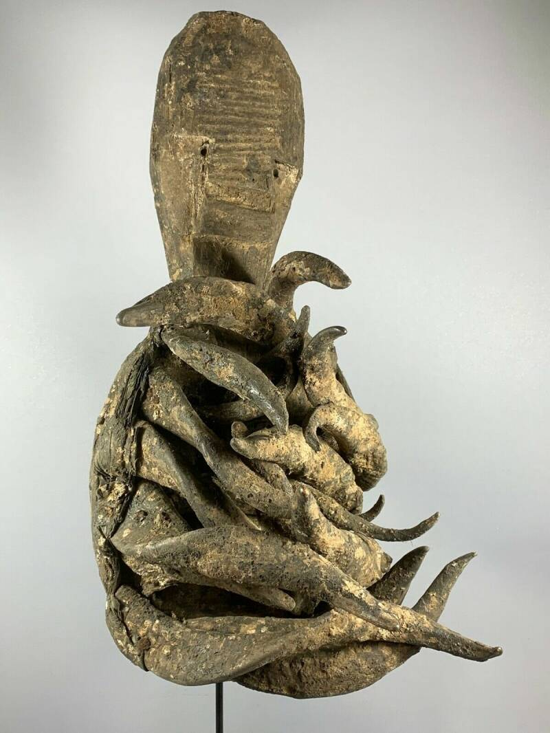 210112 - Old and Rare Tribal used African Old Gle Bete horn mask - Iv. Coast