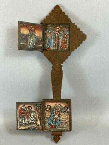 210351- Old Wooden Ethiopian Coptic hand Cross with handpainted icons- Ethiopia.