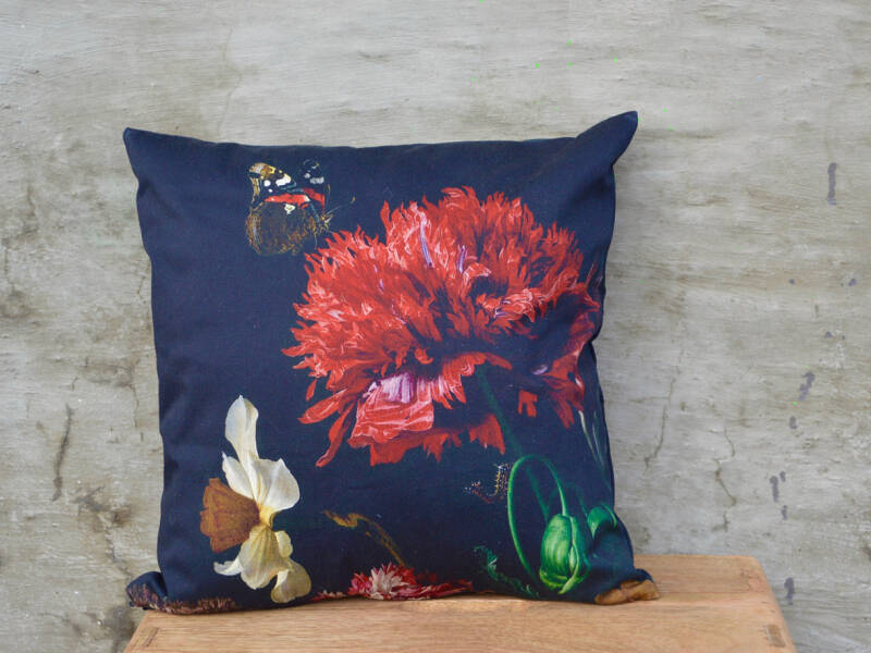 Handmade cushion-cover with flower painting