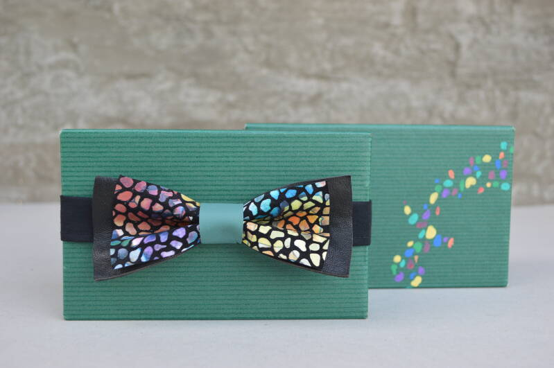 Leather bow tie - black + colours