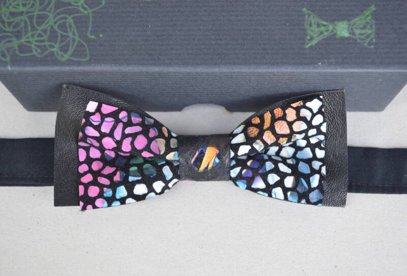 Leather bow tie - black + mosaic