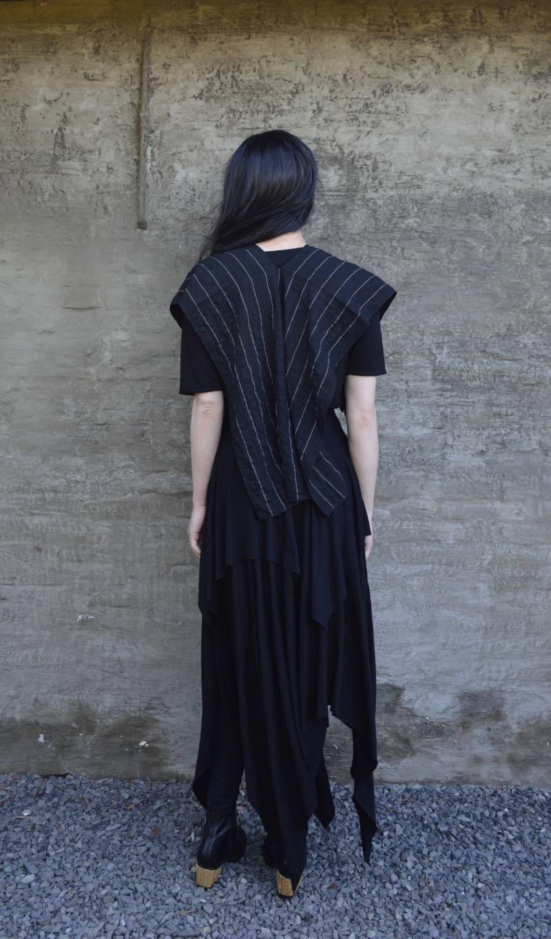 Cape/top with chalk stripe pattern