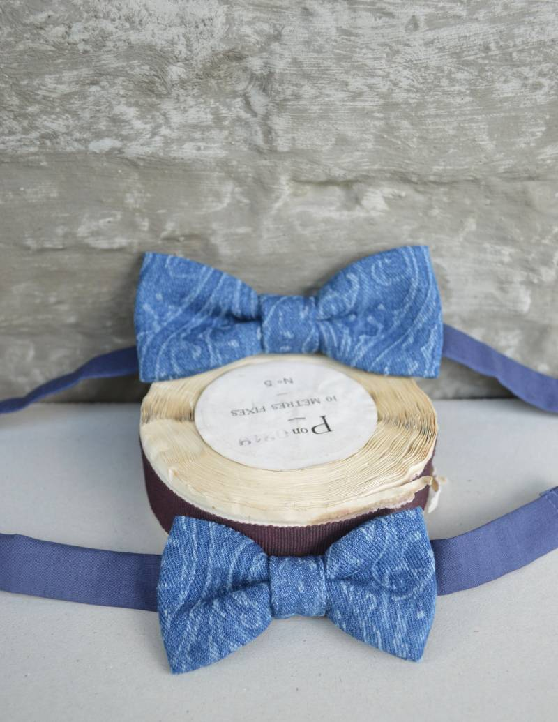 Gift set - father & son denim bow ties