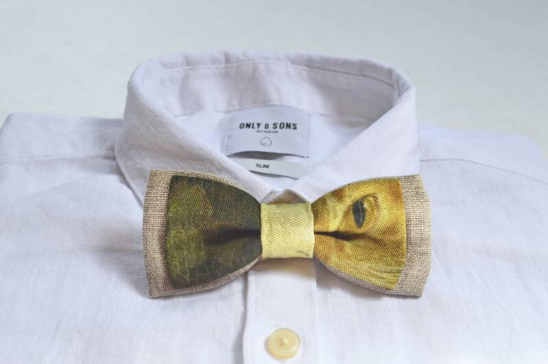 Bow tie with cat's eye print