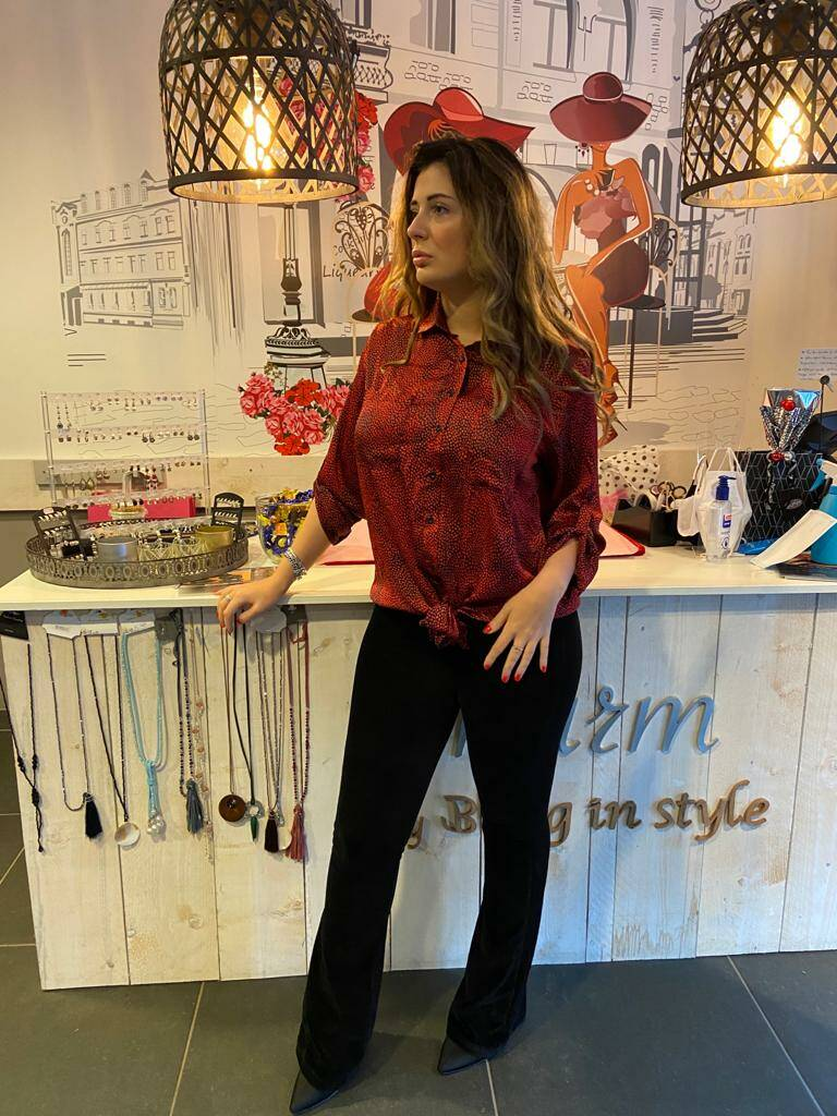 Stippel blouse Ambika Rood