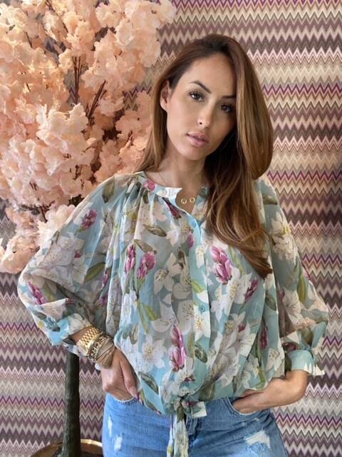 Flower Blouse Turq
