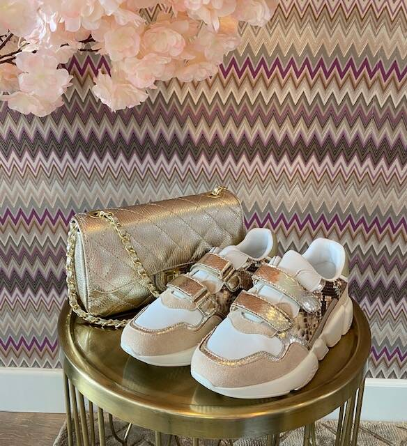 Gold Snake Sneakers