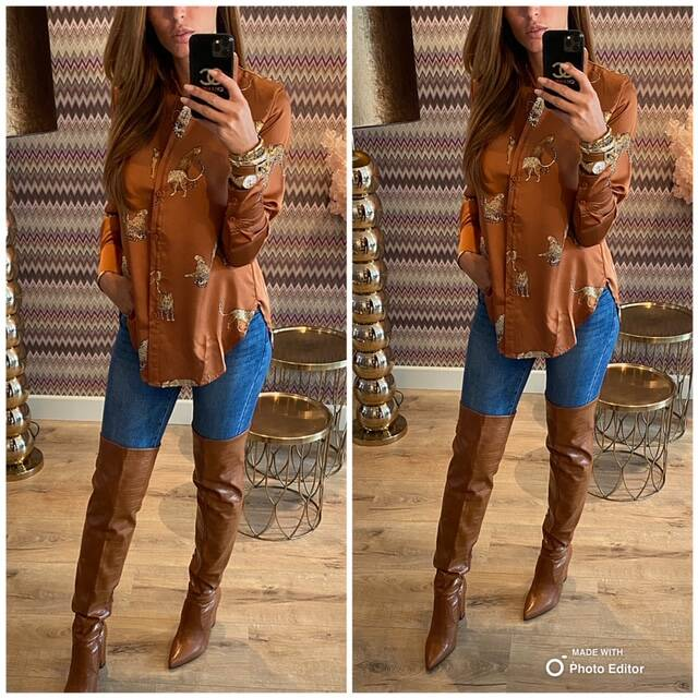 Camel tiger blouse