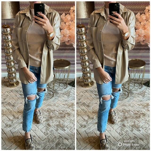 Leather Creme Blouse