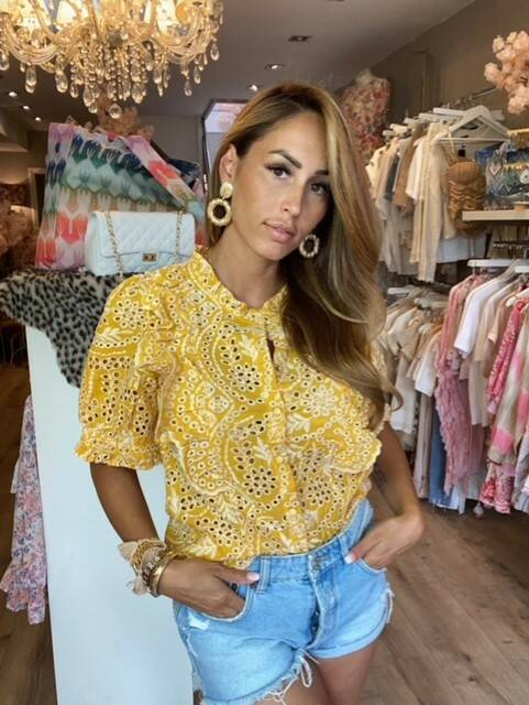 Yellow Broderie Top