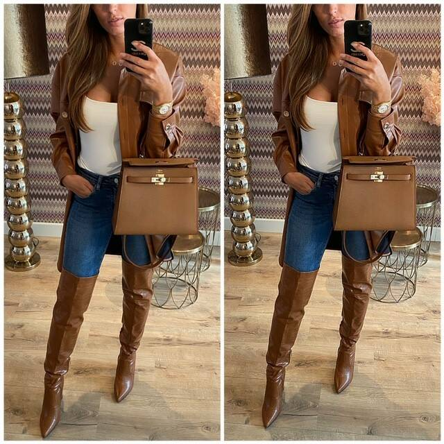 Camel Leather Blouse