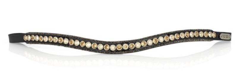 Judi Frontriem- Browband Crystal Fabric gold Classic