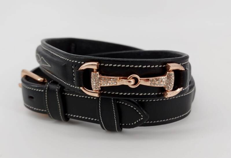 *NEW*  Belt Strass Snaffles black - Rose