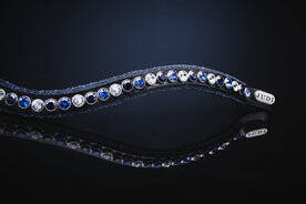 Judi Frontriem- Browband Crystal Fabric II Blue Classic Tricolore Blue