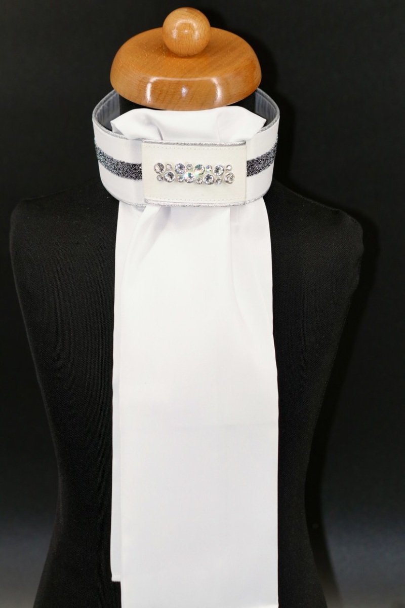 Stock-Tie Plastron Crystal Fabric silver diamond Odessa Double crystal clear