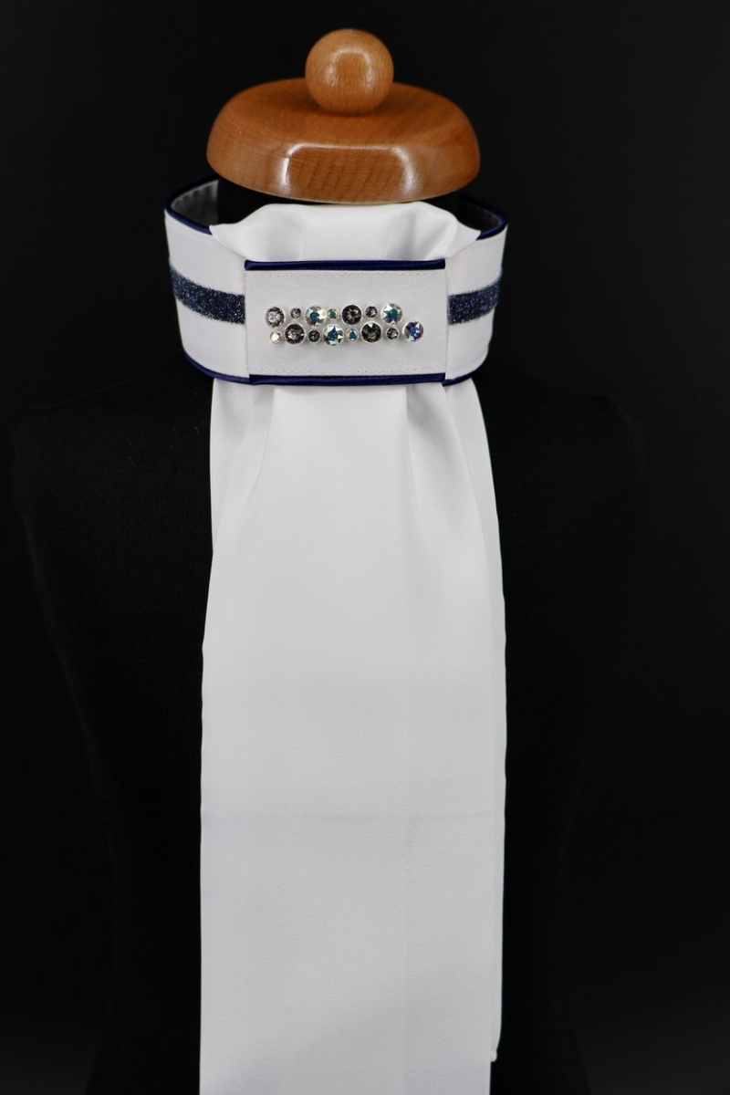 Stock-Tie Plastron Crystal Fabric blue Odessa Double crystal AB