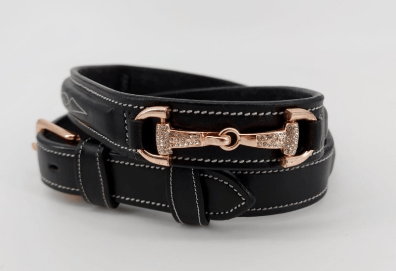 *New Colors* Equestrian Belt Snaffles Strass Rose Gold and Dark Brown **