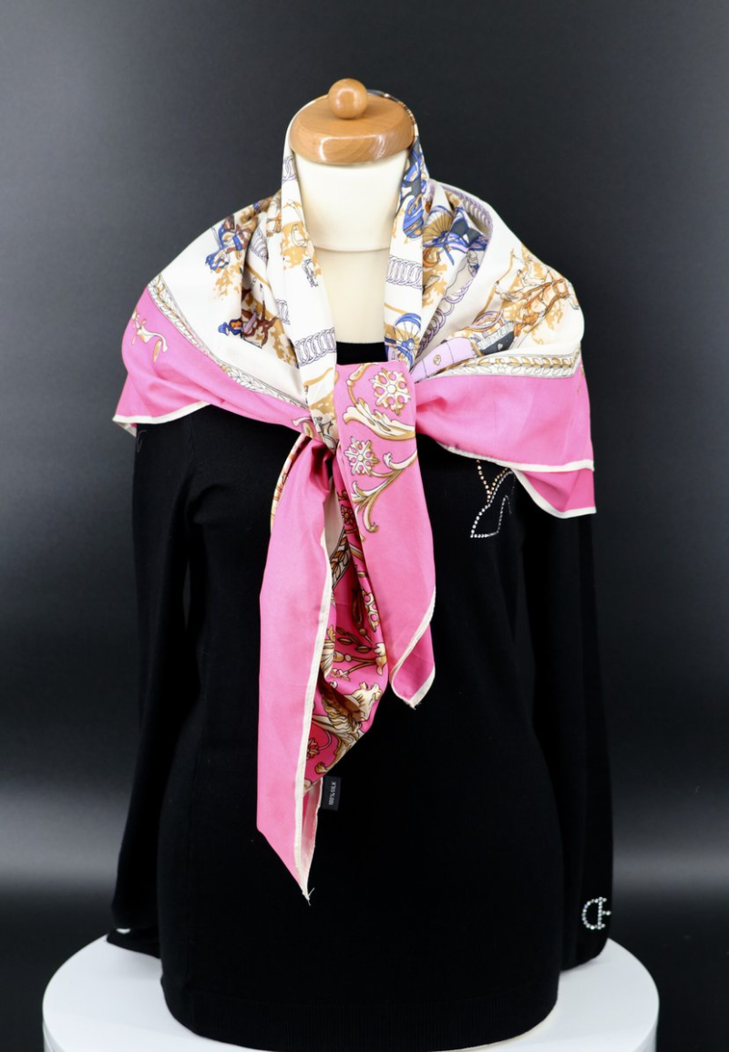 Scarf Equestrian Silk Pink 3 colors