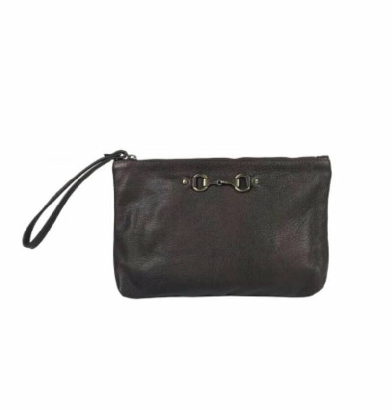 Clutch Equestrian Brown Leather