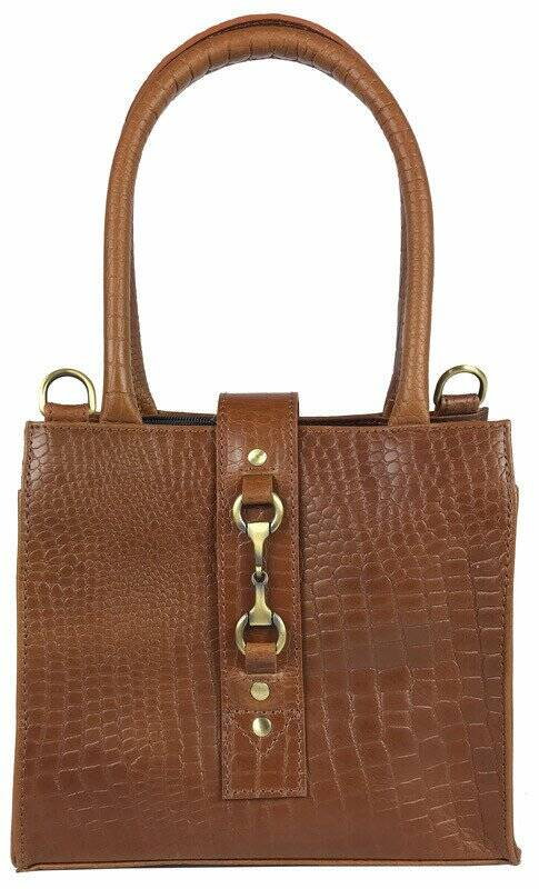 Equestrian Mini Alice Handbag Natural Leather Croc