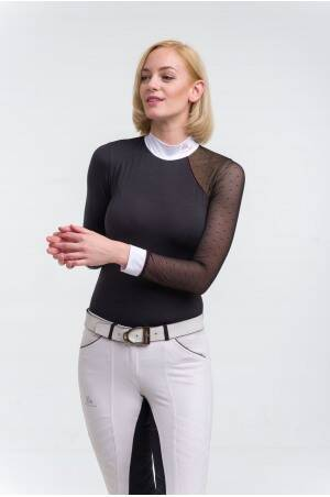Cavalliera Show Shirt Modern Dame Long Sleeve Black Burgundy