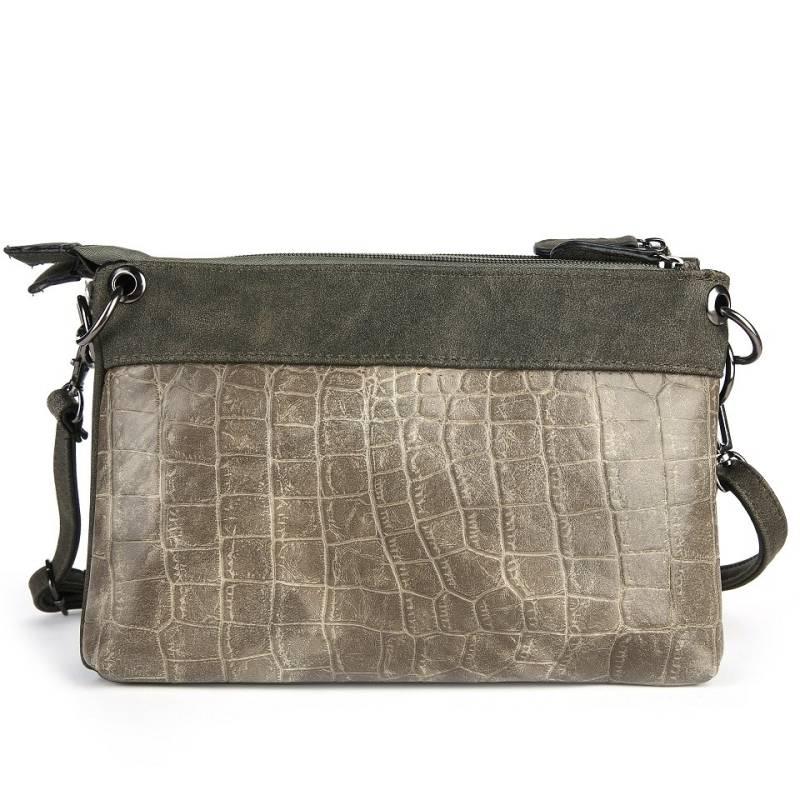Croco green schoudertasje/ clutch
