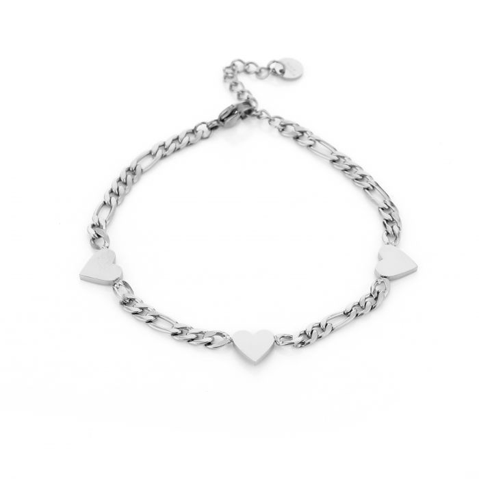 Armband Chain Hearts Zilver