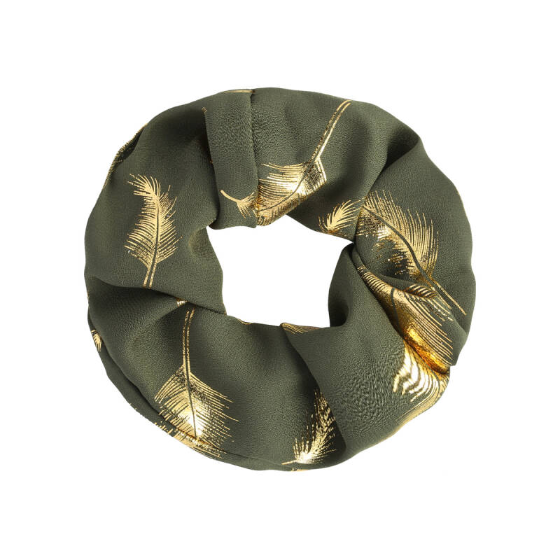 Scrunchie Golden Feather - Groen / Goud