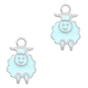BQ metalen bedels schaap Zilver-Light blue