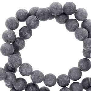 8 mm natuursteen kraal rond mountain jade mat Anthracite grey