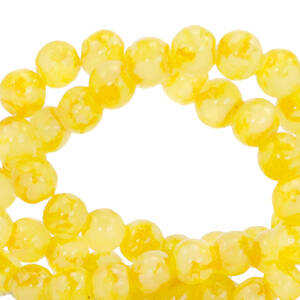6 mm glaskralen Gemêleerd Freesia Yellow