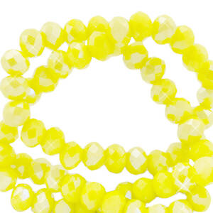 Top Facet kralen 4x3 mm disc Blazing yellow-pearl shine coating 10 stuks