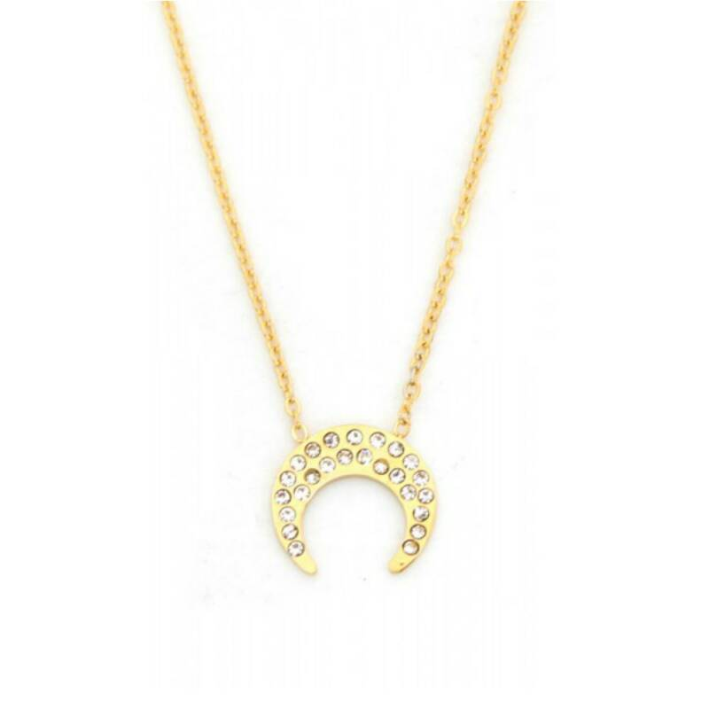 Ketting Moon Crystal Goud
